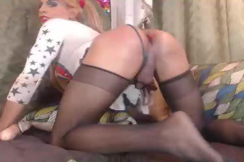 Pantyhose transgender blowjob dick and interracial