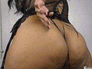 High heels stockings garter belt embedded in her virgin hole